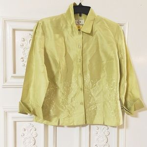 Lovely Lime Satin Floral Embroidery Summer  Top